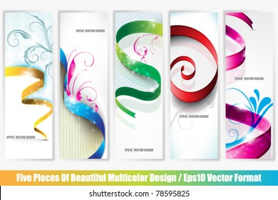 eps10 vector collection of five multicolor banners with ribbon designs