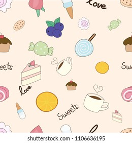 eps10 vector cute hand draw doodle vector seamless pattern food bakery cake coffee candy strawberry blueberry orange cookie donuts lollipop ice cream sweet