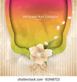 eps10 vector flower and frame element background design