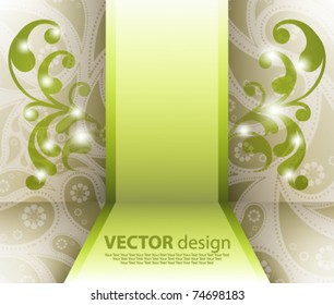 eps10 vector foliage with frame in the middle