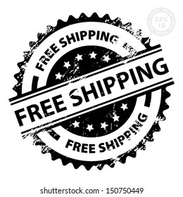 EPS10 Vector : Free Shipping Rubber Stamp with Grunge (Sticker, Tag, Icon, Symbol)