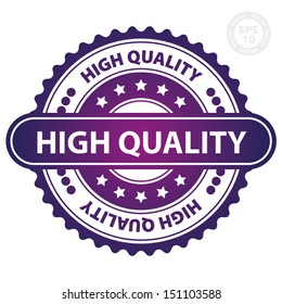 EPS10 Vector : High Quality Rubber Stamp (Sticker, Tag, Icon, Symbol) with purple color, isolated on white background