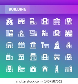 EPS10 vector icons related to buildings and architecture. Symbols such as residential, commercial, public and private buildings are included.