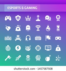 EPS10 vector icons related to esports and gaming. Symbols such as game equipment and competition are included in this set.