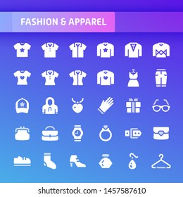 EPS10 vector icons related to fashion and accessories. Symbols such as clothes and fashion accessories are included in this set.
