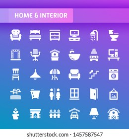 EPS10 vector icons related to home and interior. Symbols such as home furniture, types of room and home appliances are included in this set.