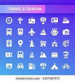 EPS10 vector icons related to travel and tourism. Symbols such as accommodation, transportation and tourism sites are included in this set.