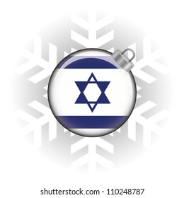 EPS10 Vector illustration of the Israel flag in a bauble with snowflake in background