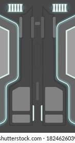EPS10. Vector illustration. sci-fi neon illuminated door. Graphic illustration of the future interior.