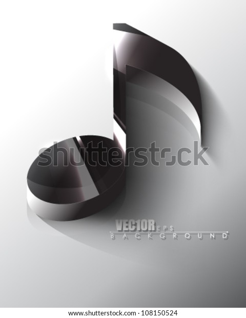 Eps10 Vector Isolated Chrome Music Note Stock Vector (Royalty Free