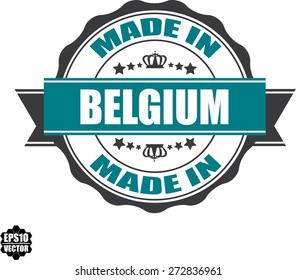 EPS10 Vector : Made In Belgium Grunge Rubber Stamp with Star And Ribbon. (Sticker, Tag, Icon, Symbol)