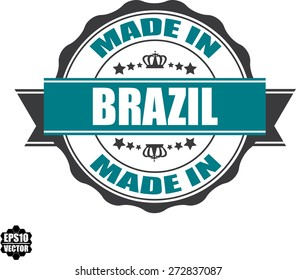 EPS10 Vector : Made In Brazil Grunge Rubber Stamp with Star And Ribbon. (Sticker, Tag, Icon, Symbol)