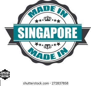 EPS10 Vector : Made In Singapore Grunge Rubber Stamp with Star And Ribbon. (Sticker, Tag, Icon, Symbol)