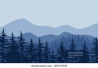 Eps10. Vector Morning at Mountains. Panorama vector illustration of mountain ridges (based on the Smokey Mountains)