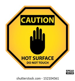 EPS10 Vector : Octagon yellow and black caution with hot surface do not touch text and sign isolated on white background.
