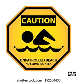 EPS10 Vector : Octagon yellow and black caution with unpatrolled beach no swimming area text and sign isolated on white background.