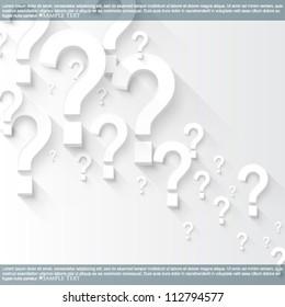 eps10 vector random white 3d question marks background
