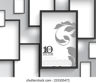 eps10 vector rectangular empty space with silhouette foliage photo frame background design