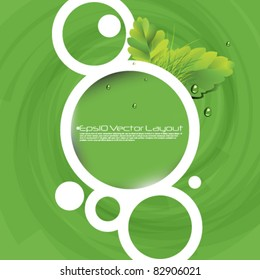 eps10 vector round frame with leaf elements background