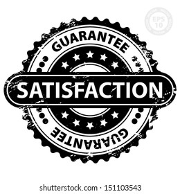 EPS10 Vector : Satisfaction Guarantee Rubber Stamp (Sticker, Tag, Icon, Symbol) with Grunge, isolated on white background