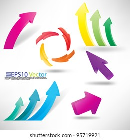 eps10 vector set of 3D arrows for business and finance graphs and charts