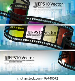 eps10 vector set of abstract banner film strip with building background design