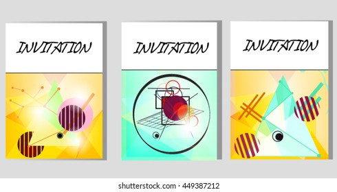 Eps10 vector - Set of three abstract invitation cards made with geometric shapes
