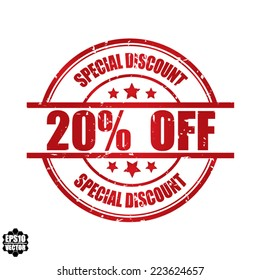 Eps10 Vector: Special discount 20% off grunge rubber stamp, label, sticker or badge on white background.