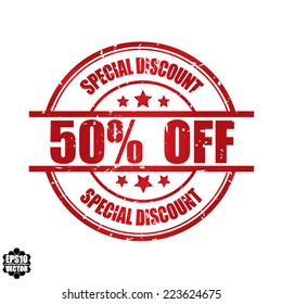 Eps10 Vector: Special discount 50% off grunge rubber stamp, label, sticker or badge on white background.