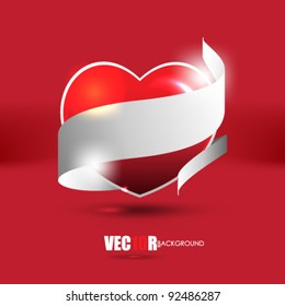 eps10 vector valentine heart with ribbon design