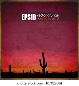 EPS10 vintage background with mexican desert sunset