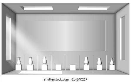Eps10. White room with two windows and a collection of vases. Showroom. Surrounding occlusion