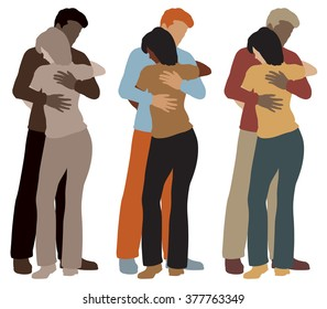 EPS8 editable vector illustration of a man and woman hugging each other in three color variations
