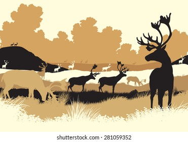 EPS8 editable vector illustration of reindeer or caribou moving across a tundra landscape with all figures as separate objects