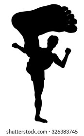 EPS8 editable vector silhouette of a man doing a karate kick with wide-angle perspective
