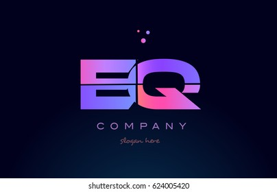 eq e q creative color blue background pink purple blue magenta alphabet letter company logo vector icon design