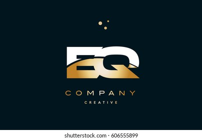 eq e q  white yellow gold golden metal metallic luxury alphabet company letter logo design vector icon template