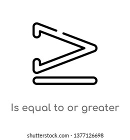 is equal to or greater than vector line icon. Simple element illustration. is equal to or greater than outline icon from signs concept. Can be used for web and mobile