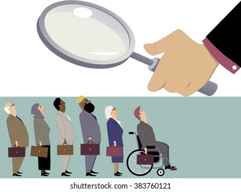 Equal opportunity employment. Line of diverse candidates, including elderly, immigrants and handicapped, standing under a magnifying glass of a hiring manager, EPS 8 vector illustration