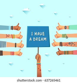 "Equal rights dream concepts. Youth crowd with banner ""I have a dream"". Manifesting new generation crowd. A lot of hands of young people gives thumbs up. Vector illustration in flat design style"