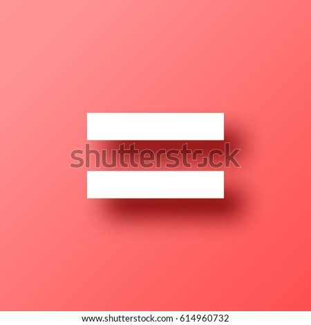 Equal Sign Isolated On Red Background Stock Vector Royalty Free
