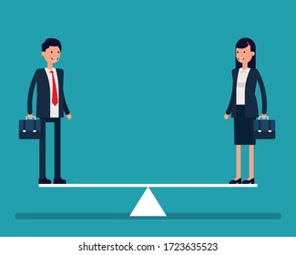 Equal weight business person. Business seesaw and balance