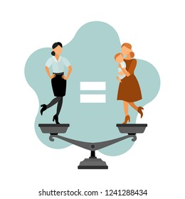 Equality. Career and family.  Flat vector  cartoon characters. Business women. Mother and baby.