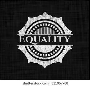 Equality chalkboard emblem written on a blackboard