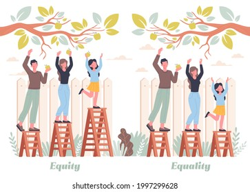 Equality and Equity Abstract Concept. Different people pick apples in the garden. Human Rights, Equal Opportunities, Respective Needs Banner. Modern Flar Cartoon Vector Illustration Design