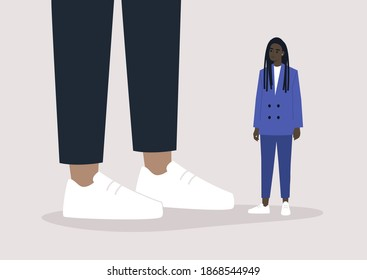 Equality problem: a female Asian character standing next to a giant, sexism, racism, and misogyny at work