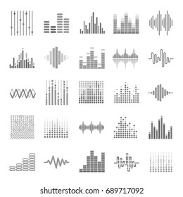 Equalizer graphic audio wave scales theme vector icons set