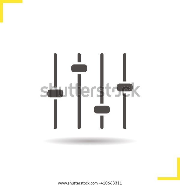 Equalizer icon. Drop shadow silhouette symbol. Preferences switcher. Music studio mixer console. Sound level control. Vector isolated illustration