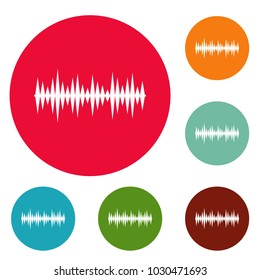 Equalizer melody icons circle set vector isolated on white background