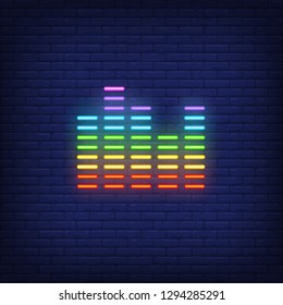 Equalizer neon sign. Luminous signboard with sound wave. Night bright advertisement. Vector illustration in neon style for amplifier, music record, program